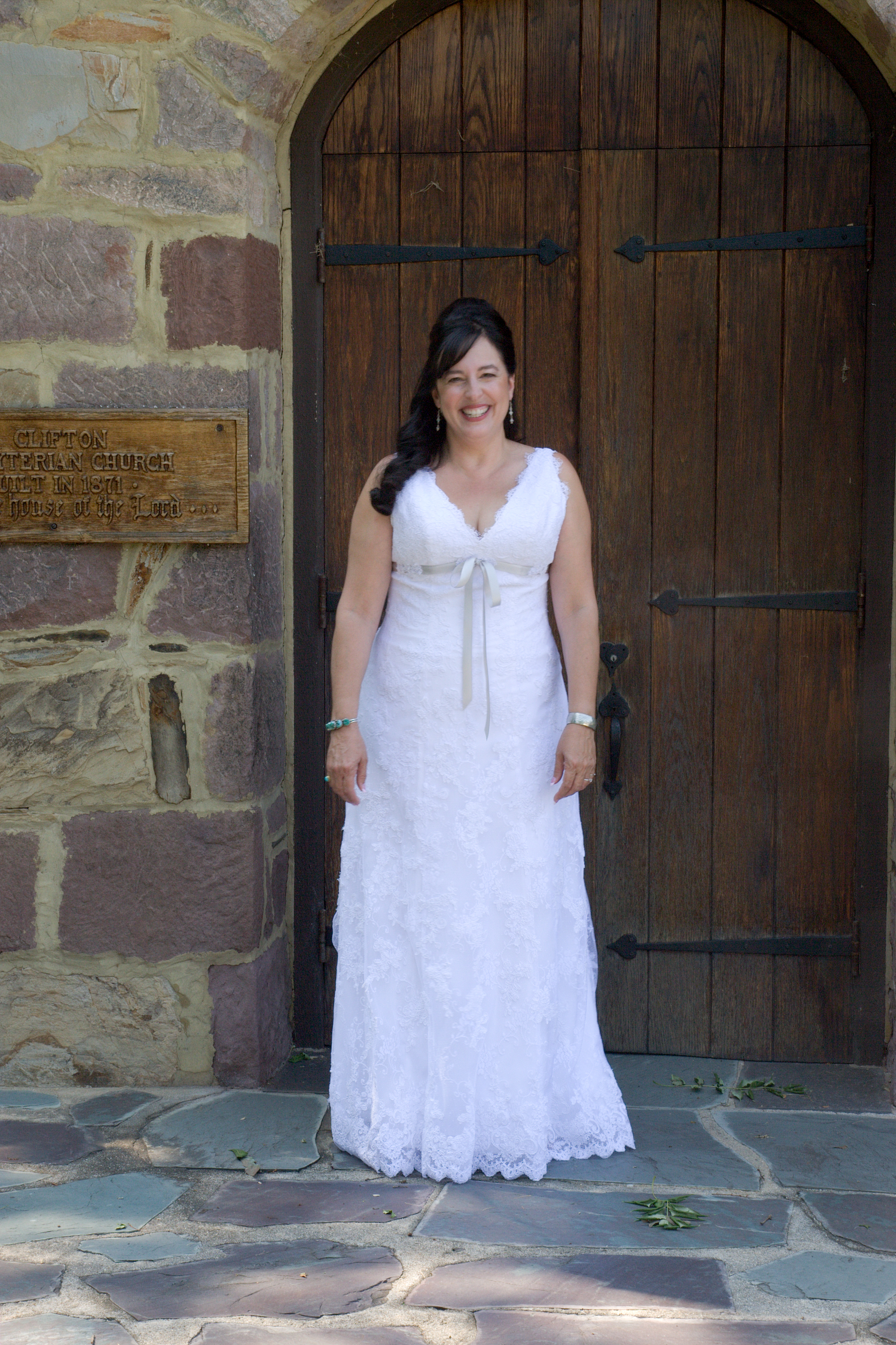Bride at church door