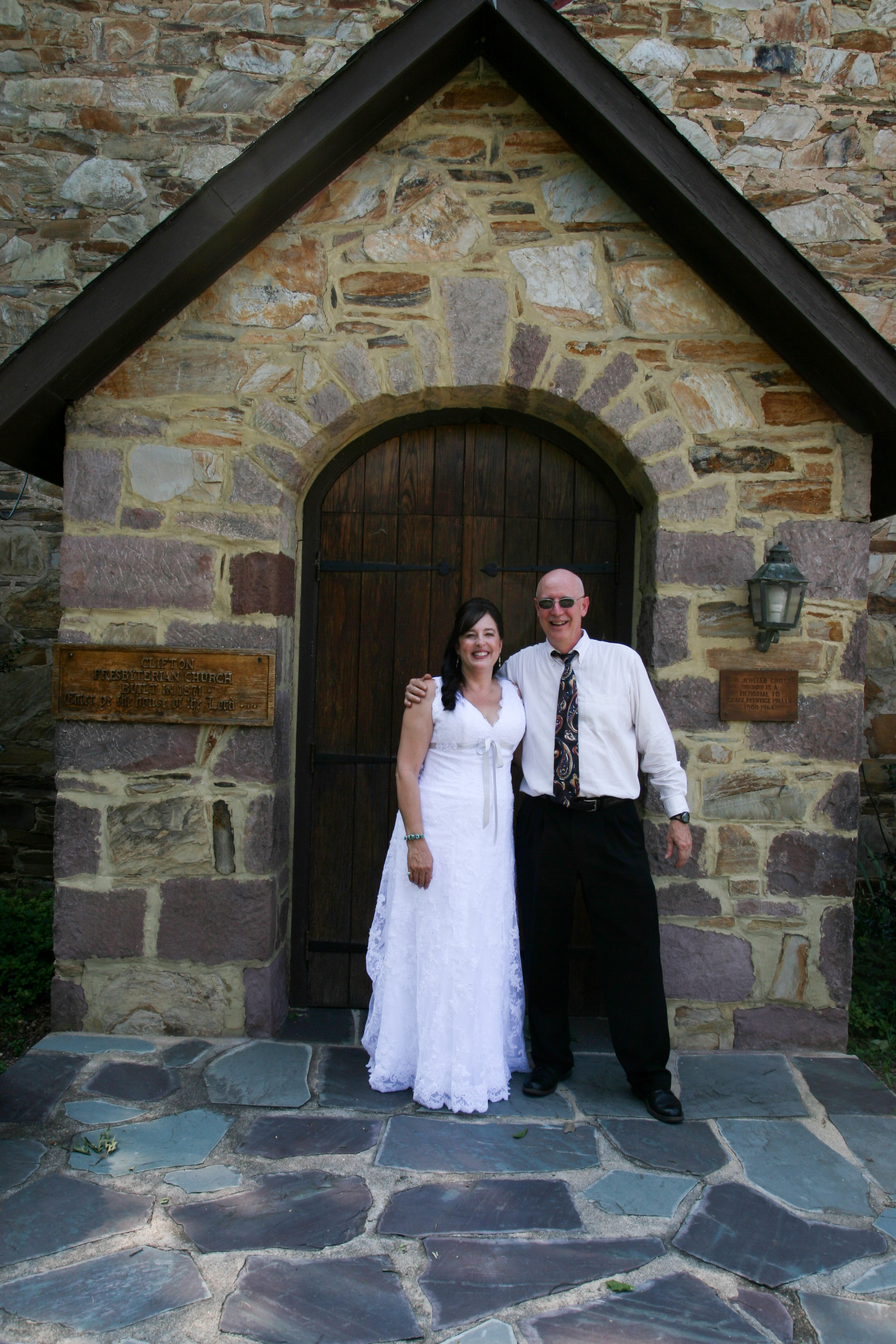 Bride and family at church door