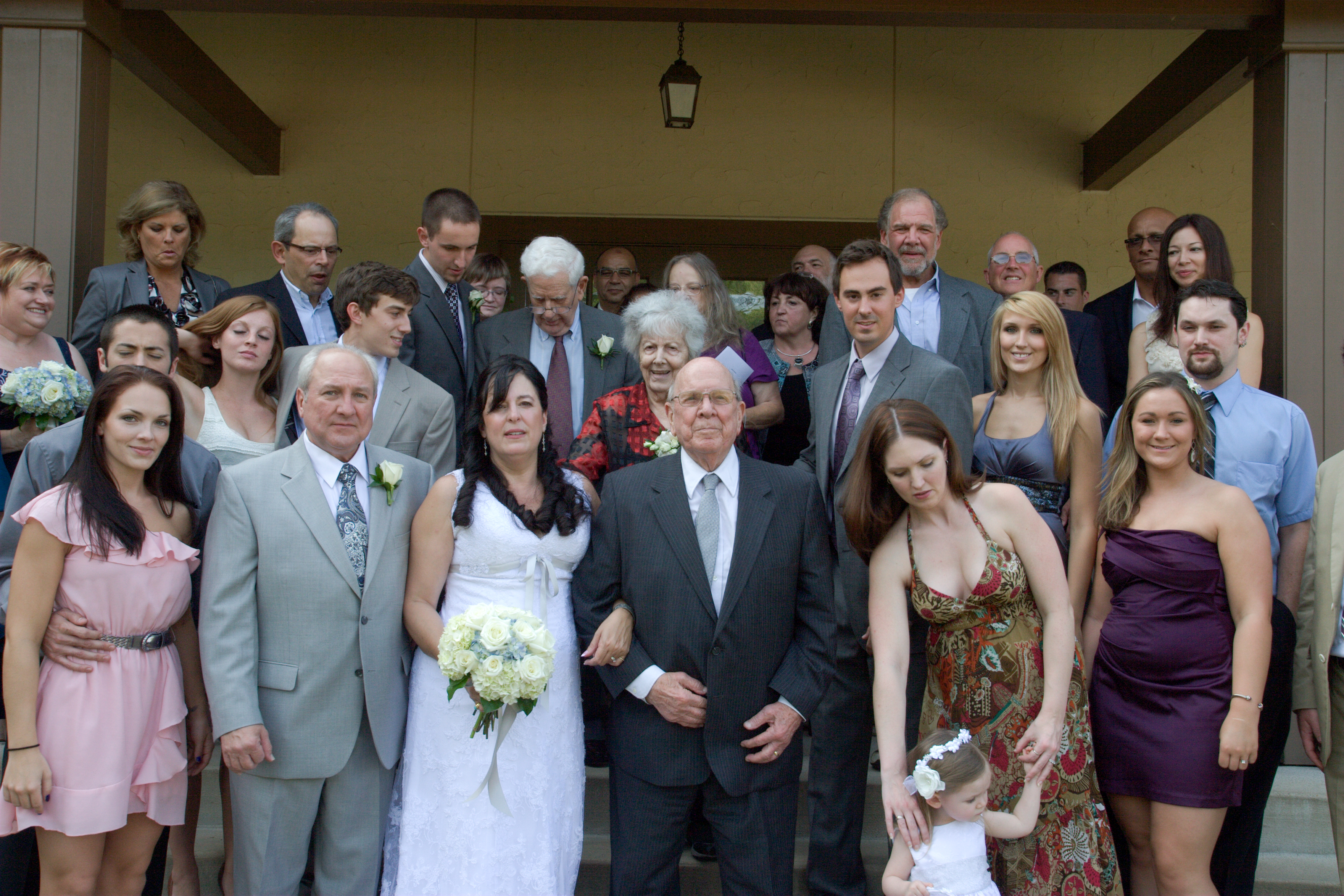 Wedding couple and extended family