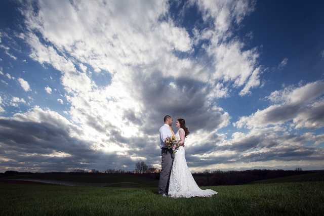 Wedding couple sky photo