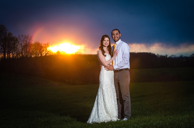 Wedding with sunset in background