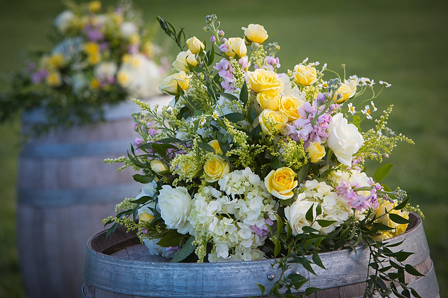 wedding flowers on barrel
