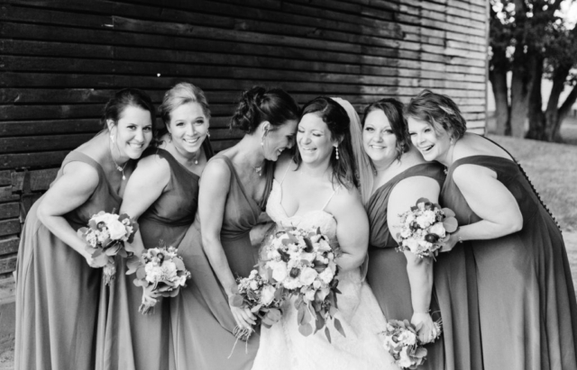 Bridal Party laughing black and white
