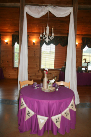 Wedding bride and groom table
