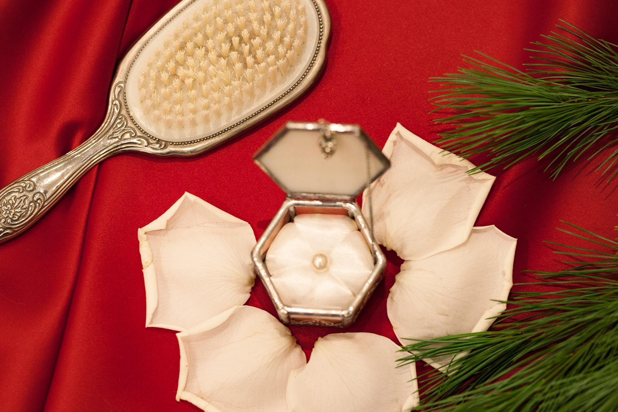 winter wedding brush petals pine