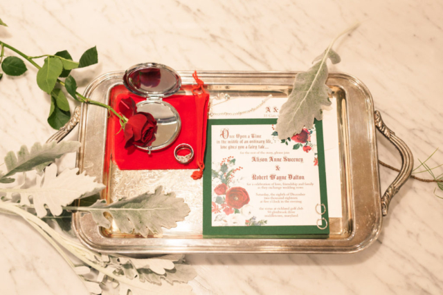 winter fairytale wedding invitation rose mirror tray