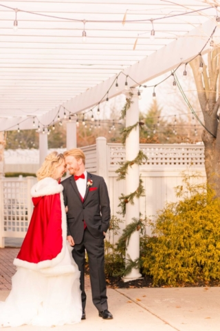 winter fairytale wedding couple