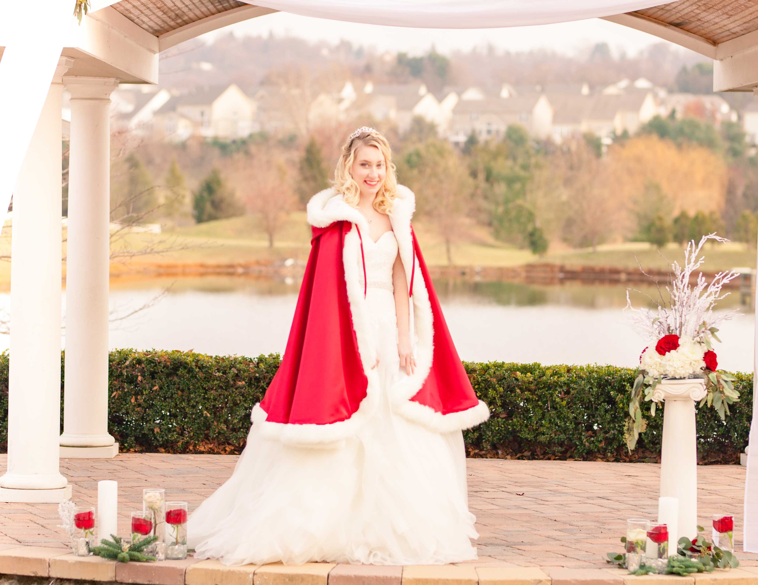 winter fairy tale wedding bride red cape full-length