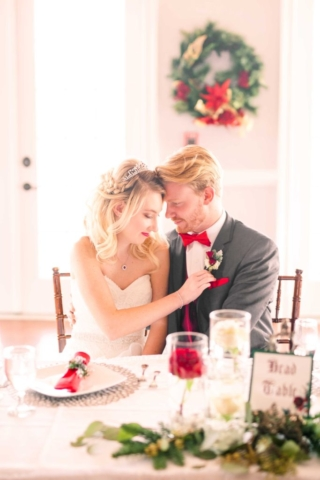 Winter Wedding couple at table