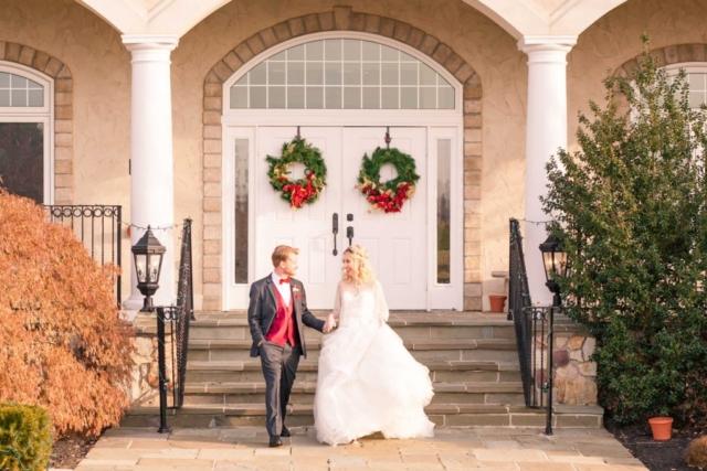 winter wedding couple exit
